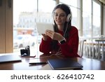 smiling attractive female... | Shutterstock . vector #626410742
