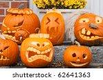 Six Halloween Pumpkins