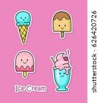 set of fun cartoon ice creams... | Shutterstock .eps vector #626420726