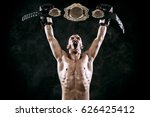 boxer with champion belt... | Shutterstock . vector #626425412