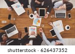 business meeting top view. busy ... | Shutterstock . vector #626437352