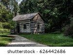 Old Clapboard Log Cabin In Ohio.