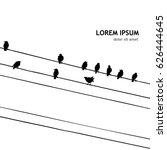 Birds On A Wire. Vector