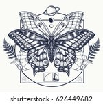 butterfly tattoo art. symbol of ... | Shutterstock .eps vector #626449682