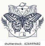 butterfly tattoo art. symbol of ... | Shutterstock .eps vector #626449682
