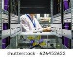 it engineer installs enclosure... | Shutterstock . vector #626452622