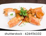 fried tiger river prawn with... | Shutterstock . vector #626456102