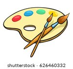 cartoon art palette and two... | Shutterstock .eps vector #626460332