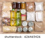 food donations on wooden... | Shutterstock . vector #626465426