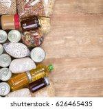 food donations on wooden... | Shutterstock . vector #626465435
