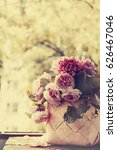 bouquet of roses and peonies on ... | Shutterstock . vector #626467046