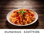 pasta with tomato sauce  | Shutterstock . vector #626474186