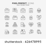 thin line icons set of gifts... | Shutterstock .eps vector #626478995