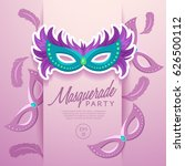 set of carnival mask with... | Shutterstock .eps vector #626500112