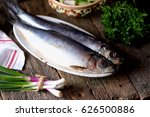 salted herring with mashed... | Shutterstock . vector #626500886