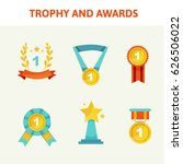 trophy and awards icons set.... | Shutterstock .eps vector #626506022
