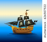 pirate ship with black sails | Shutterstock .eps vector #626507522