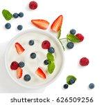 top view of healthy greek... | Shutterstock . vector #626509256