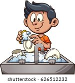 boy washing dishes. vector clip ... | Shutterstock .eps vector #626512232
