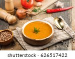 Lentil Soup In A Rustic Bowl O...