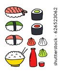 doodle icons. asian food sushi | Shutterstock .eps vector #626523062