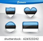 glossy estonia flag icon set... | Shutterstock .eps vector #626523242