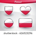 glossy poland flag icon set... | Shutterstock .eps vector #626523296