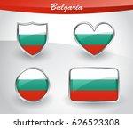 glossy bulgaria flag icon set...   Shutterstock .eps vector #626523308