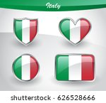 glossy italy flag icon set with ... | Shutterstock .eps vector #626528666