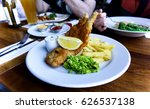 fresh fish and chips  pub meal.... | Shutterstock . vector #626537138