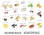 dried vector fruits food set. | Shutterstock .eps vector #626539262