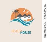 Seaside Beach Logo With Houses...