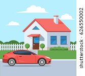 facade of the house with a car. ... | Shutterstock .eps vector #626550002