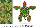 decorative turtle with ornament ... | Shutterstock .eps vector #626554646