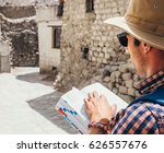 close up image tourist with... | Shutterstock . vector #626557676