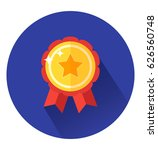 badge icon with ribbons in flat ...   Shutterstock .eps vector #626560748