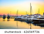 luxury yachts docked in sea... | Shutterstock . vector #626569736