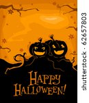 silhouettes of pumpkins against ... | Shutterstock .eps vector #62657803