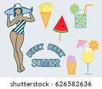 vector isolated summer flat... | Shutterstock .eps vector #626582636