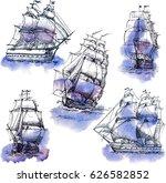hand drawn vector set of... | Shutterstock .eps vector #626582852