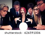 business team using a crystal... | Shutterstock . vector #626591006