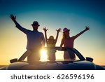 silhouette of happy family at... | Shutterstock . vector #626596196