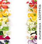 top view of rainbow colorful... | Shutterstock . vector #626599436