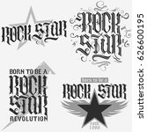 rock star lettering print for... | Shutterstock .eps vector #626600195