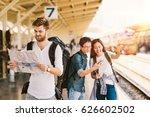 multiethnic group of backpack... | Shutterstock . vector #626602502