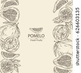 background with pomelo and... | Shutterstock .eps vector #626603135
