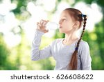little girl with bottle of... | Shutterstock . vector #626608622