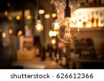 vintage lamp bulb with bar or... | Shutterstock . vector #626612366