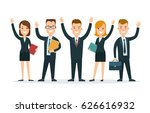 flat team of happy young man... | Shutterstock .eps vector #626616932