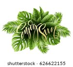 summer poster with tropical... | Shutterstock .eps vector #626622155